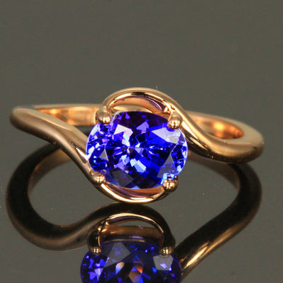 14 Kt. Rose Gold Tanzanite Bypass Ring 1.82 Carats