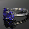 Tanzanite 14kt white gold 3 stone ring