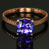 Tanzanite square cushion ring