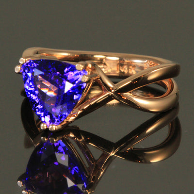 14K Rose Gold Trillant Tanzanite Ring by Christopher Michael 2.55 Carats
