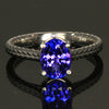 14K White Gold Oval Tanzanite Ring