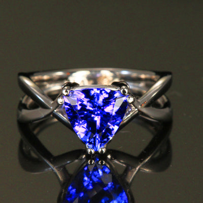 14K White Gold Trilliant Tanzanite Ring by Christopher Michael