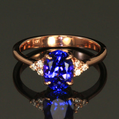 14K Rose Gold Oval Tanzanite Ring 1.66 Carats