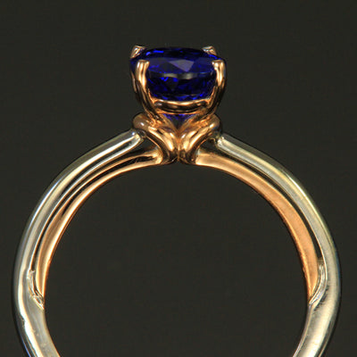 14K White/Rose Gold Oval Tanzanite Ring