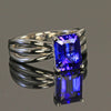 14K White Gold Emerald Cut Blue Violet Tanzanite Ring