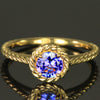 14K Yellow Gold Round Brilliant Tanzanite Ring