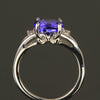 14K White Gold Oval Tanzanite & Diamond Ring
