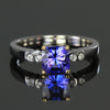 14K White Gold Square Barion Cut Tanzanite & Diamond Ring 1.09 Carats