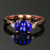 14K Rose Gold Oval Tanzanite and Diamond Ring