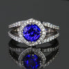 14k White Gold Round Brilliant Tanzanite with Diamond Halo and Shank