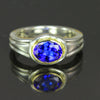 Sterling Silver and 14K Yellow Tanzanite Ring 1.59 Carats