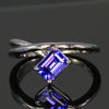 14K White Gold Emerald Cut Tanzanite Ring 1.25 Carats