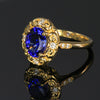 18K Yellow Gold Oval Tanzanite with Diamonds 2.50 Carats