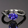 14k White Gold Oval Blue Violet Tanzanite Ring 1.35 Carats