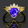 unique trilliant tanzanite crown diamond ring