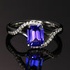 14k White Gold Emerald Cut Tanzanite and Diamond Ring 1.44 Carats