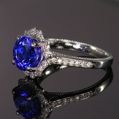 14K White Gold Tanzanite and Diamond Ring 3.15 Carats Designed by Christopher Michael