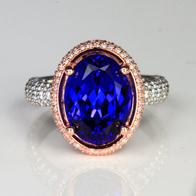platinum and rose gold tanzanite ring