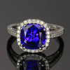 14K White Gold Square Cushion Tanzanite and Diamond Ring 3.71 Carats by Christopher Michael