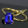 14K Yellow Gold Criss Cross Tanzanite Ring 2.66 Carats