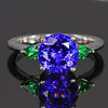 14K White Gold Tanzanite and Tsavorite Ring 3.25 Carats