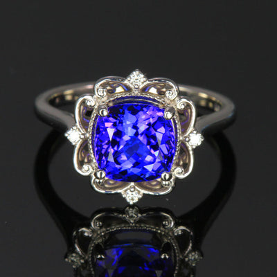 square cushion tanzanite diamond ring