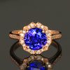 14K Rose Gold Round Brilliant Tanzanite and Diamonds Ring