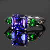 14K White Gold Tanzanite and Tsavorite Garnet Ring 4.02 Carats