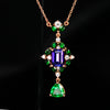 beautiful rose gold tanzanite tsavorite garnet pendant