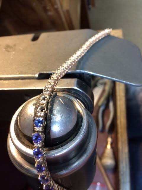 Working on Tanzanite Bracelet