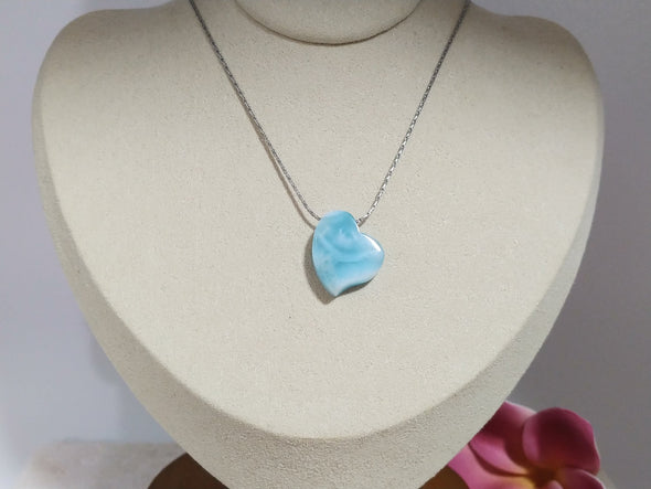 Larimar felicitas heart necklace