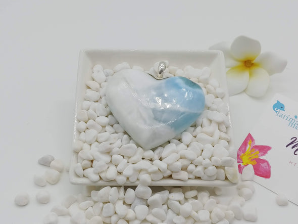 Larimar BIG heart pendant