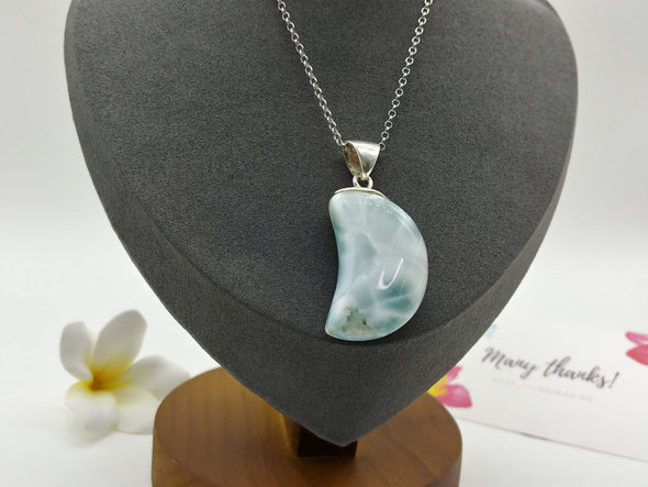 Larimar ICE Crescent Moon pendant