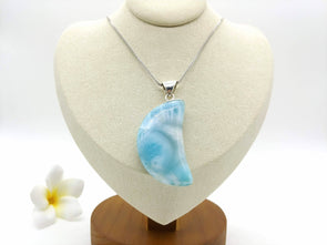 Larimar BIG Crescent Moon pendant