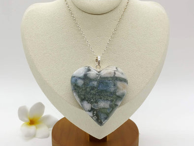 Larimar complicated pattern BIG heart pendant