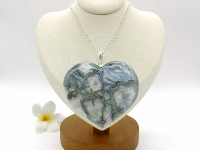 Larimar complicated pattern XL BIG heart pendant