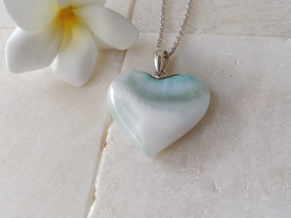 Larimar ice blue heart pendant