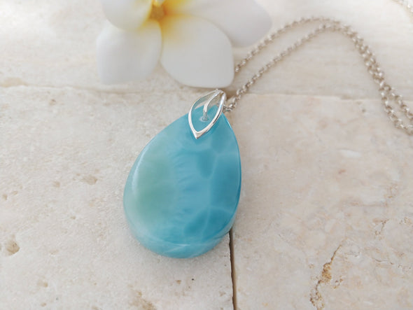Larimar Drop Tablet Pendant