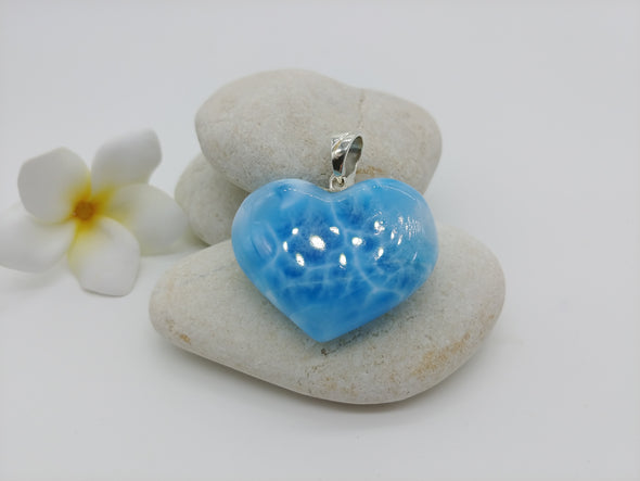 Larimar beauty caribbean blue heart pendant