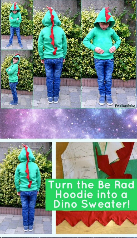 Turn the Be Rad Hoodie into a Dino Sweater!