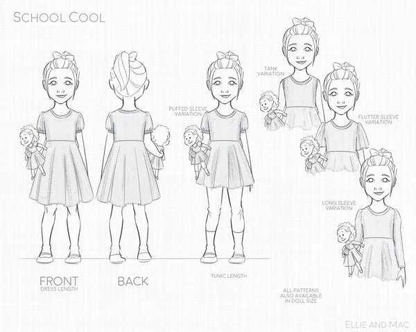School Cool Dress Sewing Pattern Line Drawing
