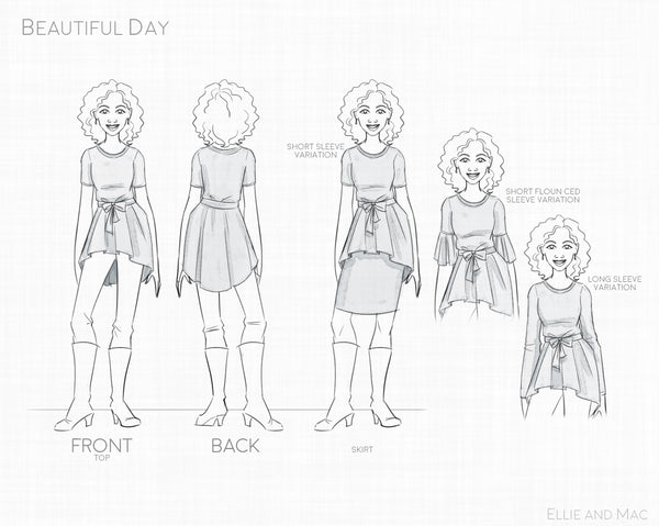 Beautiful Day Women's Sewing Pattern Line Drawing for Ellie and Mac
