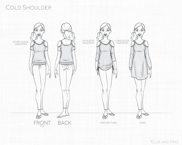 Cold Shoulder Sewing pattern for women line drawing for Ellie and Mac Patterns