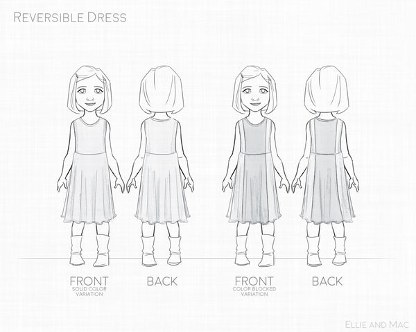 Reversible Girls Dress Sewing Pattern by Ellie and Mac