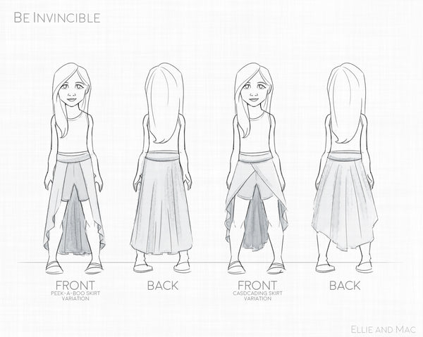 Be Invincible Shorts Skirt Sewing Pattern for Ellie and Mac Patterns