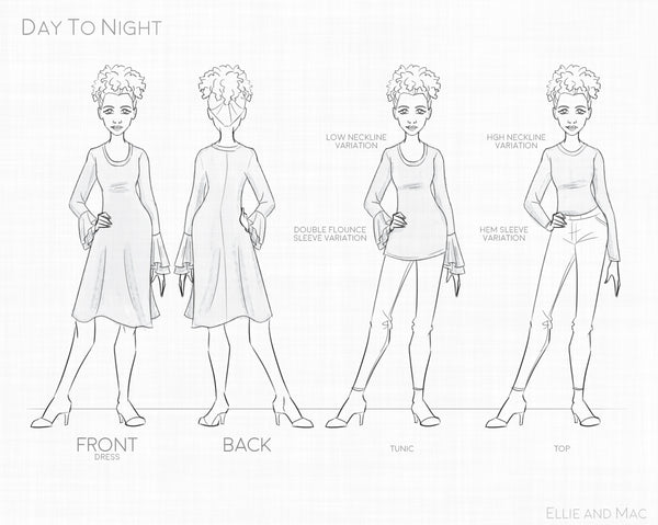 Women's Day To Night Pattern Line Drawing for Ellie and Mac Sewing Patterns
