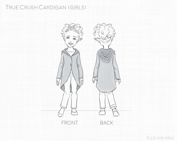 True Crush Girls Cardigan Sewing Pattern By Ellie and Mac Sewing Patterns