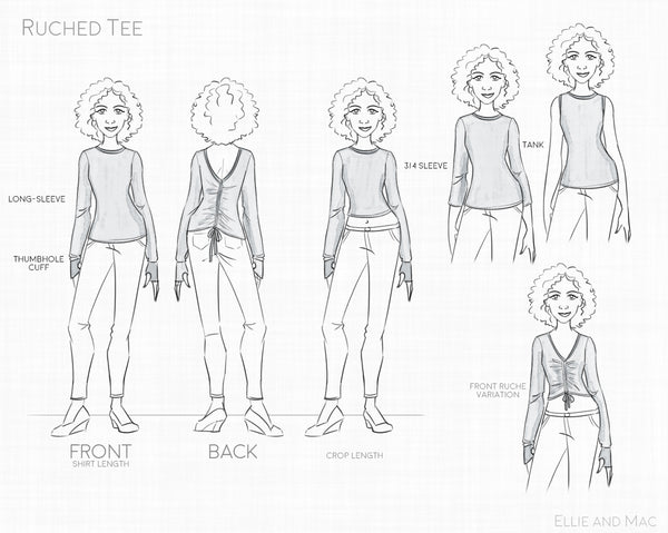 Women's Ruched Tee Sewing Pattern Line Drawing for Ellie and Mac Sewing Patterns