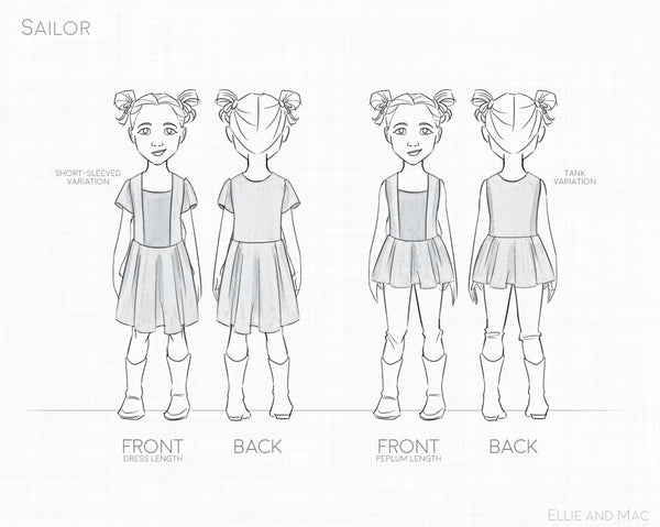 Sailor Dress Sewing Pattern Line Drawing for Ellie and Mac Sewing Pattern