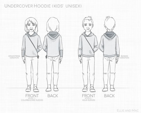 Undercover Hoodie Sewing Pattern for Kids by Ellie and Mac Sewing Patterns